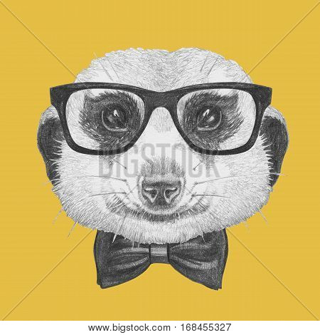 Portrait of Meerkat with glasses and bow tie. Hand drawn illustration.