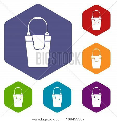 Bucket and rag icons set rhombus in different colors isolated on white background