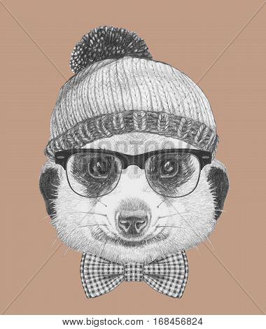 Portrait of Hipster Animal. Meerkat with glasses, hat and bow tie. Hand drawn illustration.