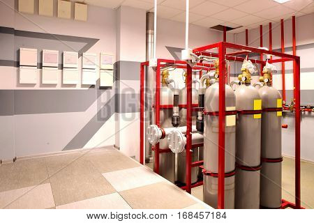 Pumping fire at the facility the oil base. Industrial fire extinguishing system