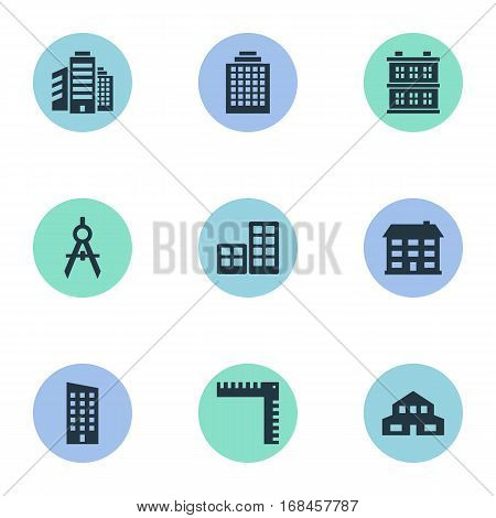 Set Of 9 Simple Structure Icons. Can Be Found Such Elements As Floor, School, Offices And Other.