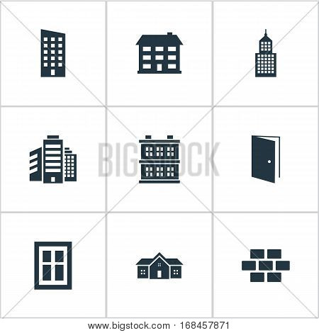 Set Of 9 Simple Construction Icons. Can Be Found Such Elements As Floor, Residence, Superstructure And Other.
