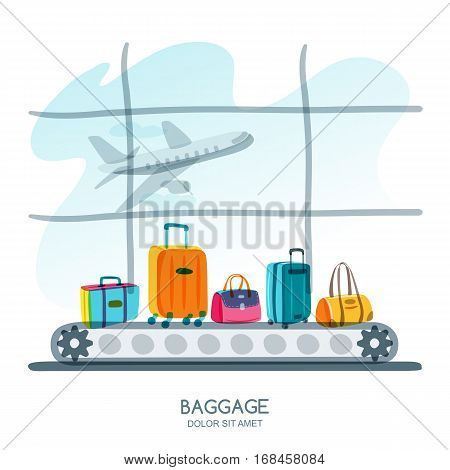 Multicolor Luggage, Suitcase, Bags On Train In Airport Terminal. Vector Hand Drawn Illustration.