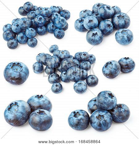 Set of blueberries isolated on white background