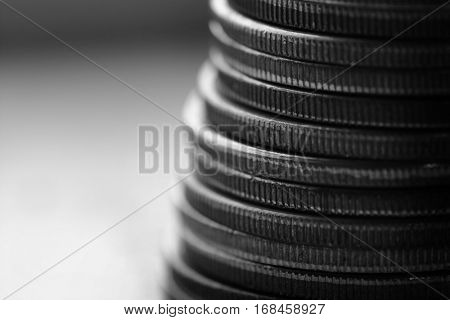 Old siver coins for money cash representing wealth and riches