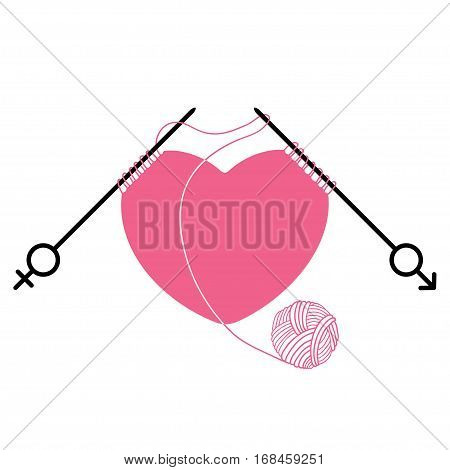Vector pink heart and knitting needles with gender symbol isolated on white background. Concept of relations between men and women. Traditional symbols of Valentine's Day.