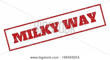 Red rubber seal stamp with Milky Way text. Vector caption inside rectangular frame. Grunge design and dust texture for watermark labels. Inclined sign.