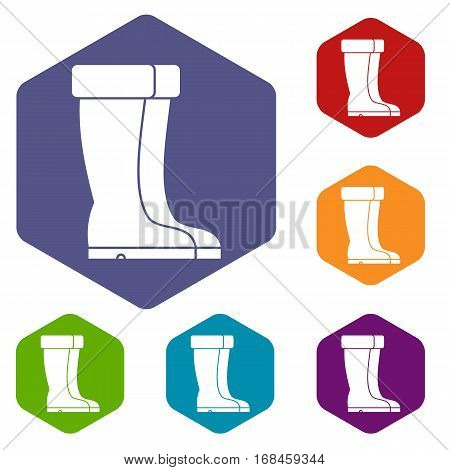Winter shoes icons set rhombus in different colors isolated on white background