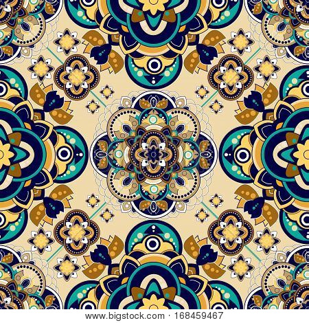 Colorful Paisley seamless pattern. Indian ornamental backdrop