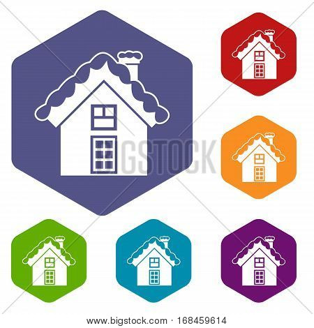 Small snowy cottage icons set rhombus in different colors isolated on white background