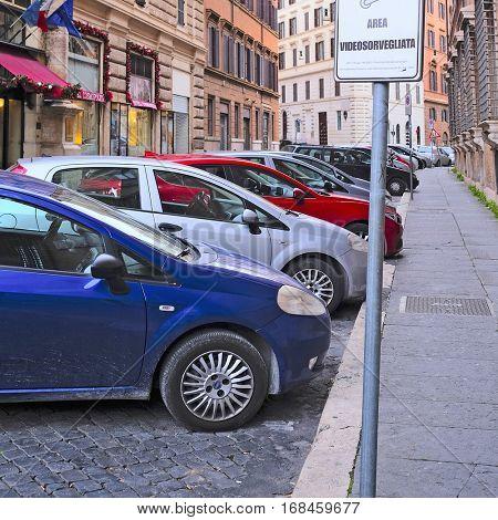 Roma, Italy, January, 16, 2016: car parking in Roma, Italy