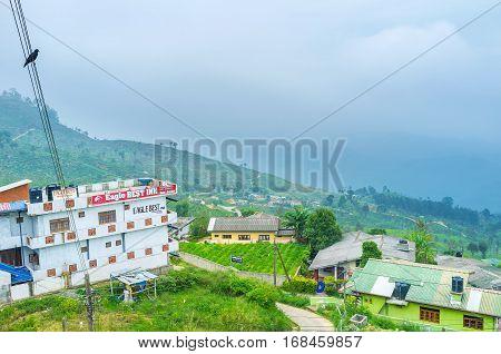 HAPUTALE SRI LANKA - NOVEMBER 30 2016: Haputale town located in the highland of Sri Lanka and often covered by fog on November 30 in Haputale.