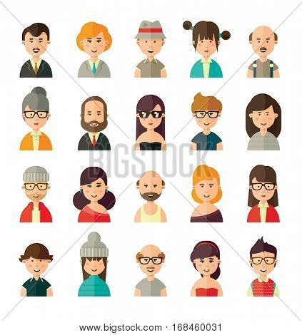 Collection of different avatars in flat style of young, old, female and male people