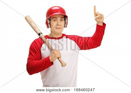 Baseball player with a bat pointing up isolated on white background