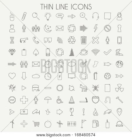 Thin Line Icons Illustration