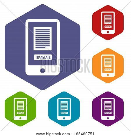 Translate application on a smartphone icons set rhombus in different colors isolated on white background