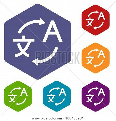 Translating icons set rhombus in different colors isolated on white background