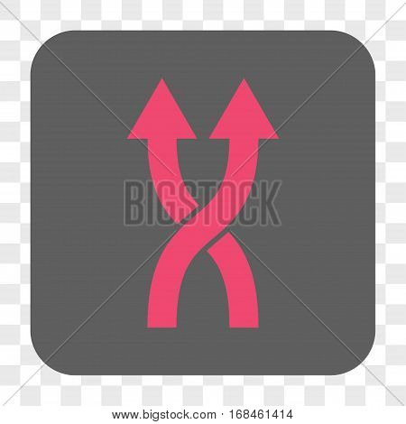 Shuffle Arrows Up interface toolbar button. Vector icon style is a flat symbol inside a rounded square button pink and gray colors chess transparent background.