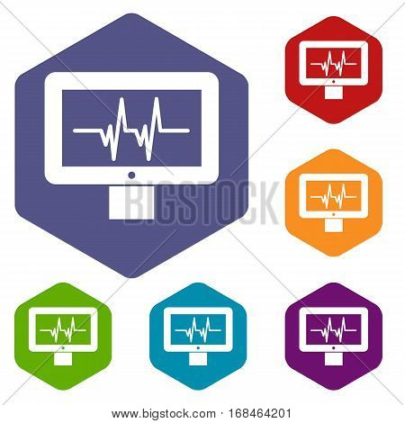 Electrocardiogram monitor icons set rhombus in different colors isolated on white background