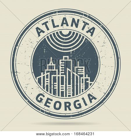 Grunge rubber stamp or label with text Atlanta Georgia written inside vector illustration