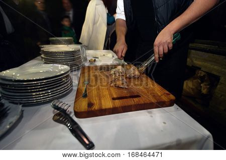 Delicious Roasted Barbeque  At Wedding Reception, Catering In Restaurant