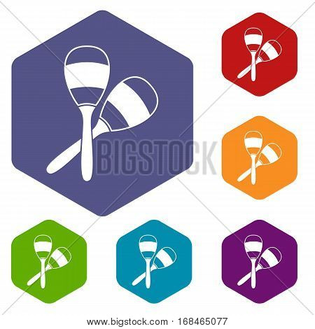 Maracas icons set rhombus in different colors isolated on white background