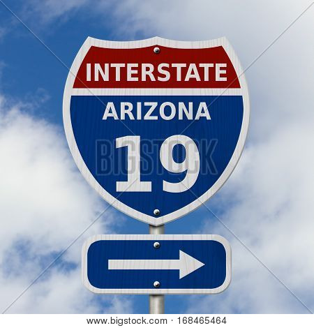 USA Interstate 19 highway sign Red white and blue interstate highway road sign with number 19 with sky background 3D Illustration