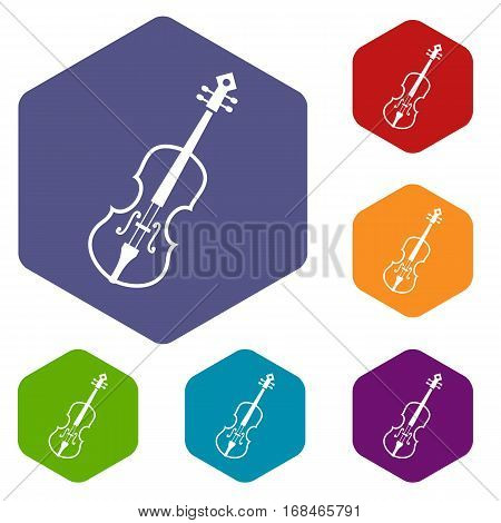 Cello icons set rhombus in different colors isolated on white background