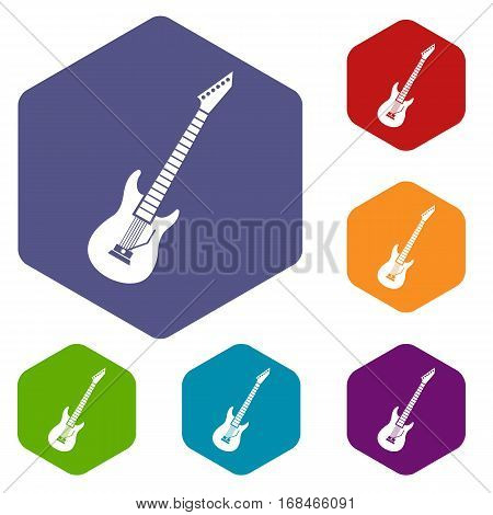 Electric guitar icons set rhombus in different colors isolated on white background