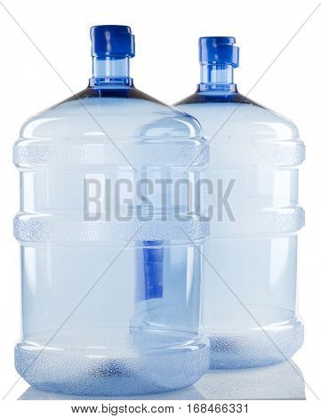 Two big Bottles of water for delivery on a white background