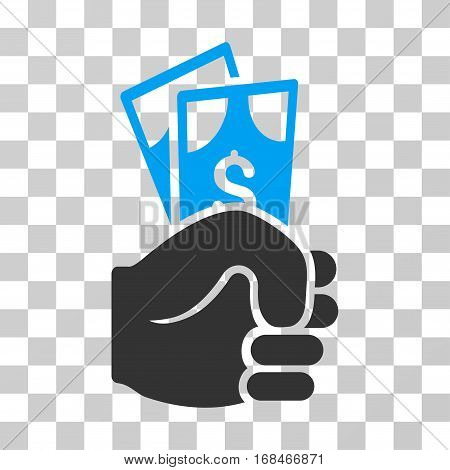 Dollar Banknotes Salary icon. Vector illustration style is flat iconic bicolor symbol, blue and gray colors, transparent background. Designed for web and software interfaces.