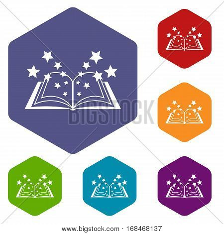 Magic book icons set rhombus in different colors isolated on white background