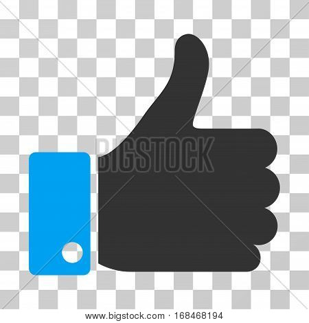 Thumb Up icon. Vector illustration style is flat iconic bicolor symbol, blue and gray colors, transparent background. Designed for web and software interfaces.
