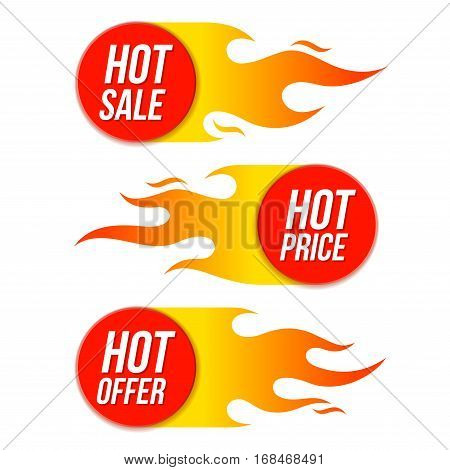 Hot Sale Price Offer Vector Labels Templates Stickers Designs With Flame