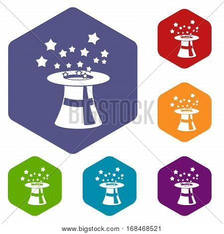 Magic hat with stars icons set rhombus in different colors isolated on white background