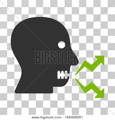 Angry Person Shout icon. Vector illustration style is flat iconic bicolor symbol, eco green and gray colors, transparent background. Designed for web and software interfaces.