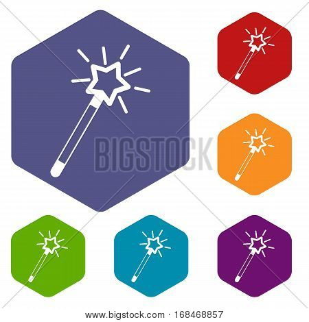 Magic wand icons set rhombus in different colors isolated on white background