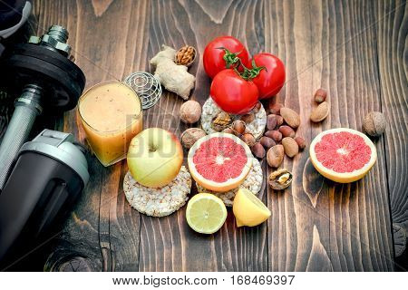 Health concept - healthy diet and sports activity to achieve a healthy and happy life