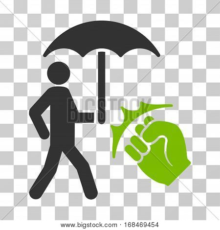Crime Coverage icon. Vector illustration style is flat iconic bicolor symbol, eco green and gray colors, transparent background. Designed for web and software interfaces.