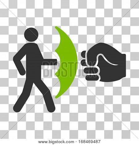 Crime Protection icon. Vector illustration style is flat iconic bicolor symbol, eco green and gray colors, transparent background. Designed for web and software interfaces.