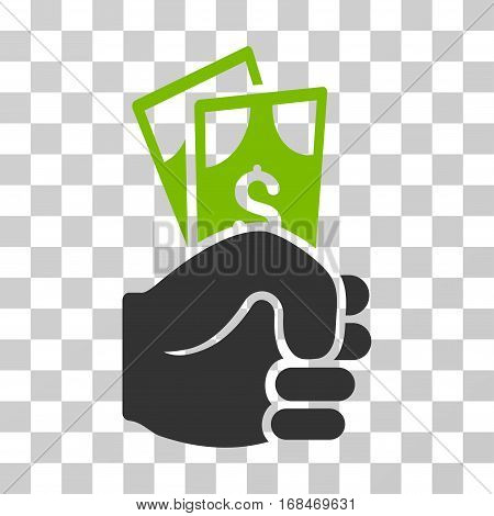 Dollar Banknotes Salary icon. Vector illustration style is flat iconic bicolor symbol, eco green and gray colors, transparent background. Designed for web and software interfaces.