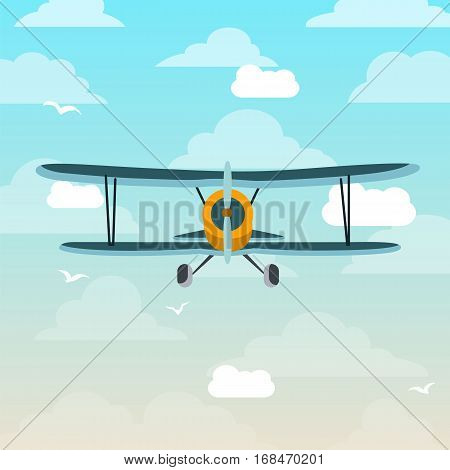 Biplane airplane fly sky cartoon retro flat illustration vector stock
