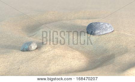 zen meditation stone on sands 3d render