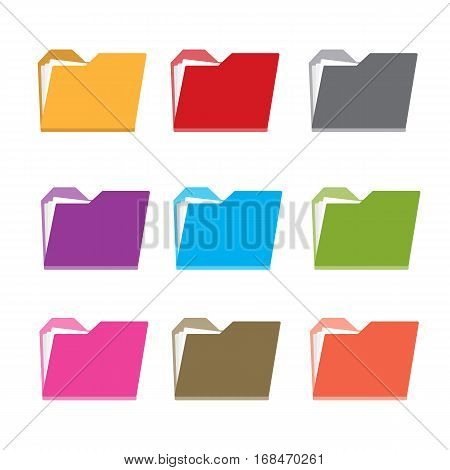 Folders file document color set isolated icon vector stock