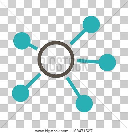Connections icon. Vector illustration style is flat iconic bicolor symbol, grey and cyan colors, transparent background. Designed for web and software interfaces.