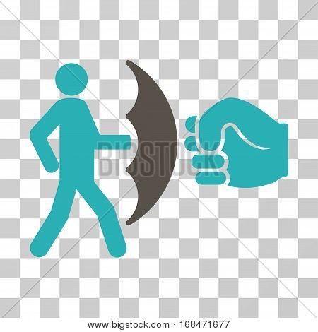 Crime Protection icon. Vector illustration style is flat iconic bicolor symbol, grey and cyan colors, transparent background. Designed for web and software interfaces.