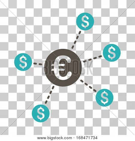 Currency Network Nodes icon. Vector illustration style is flat iconic bicolor symbol, grey and cyan colors, transparent background. Designed for web and software interfaces.