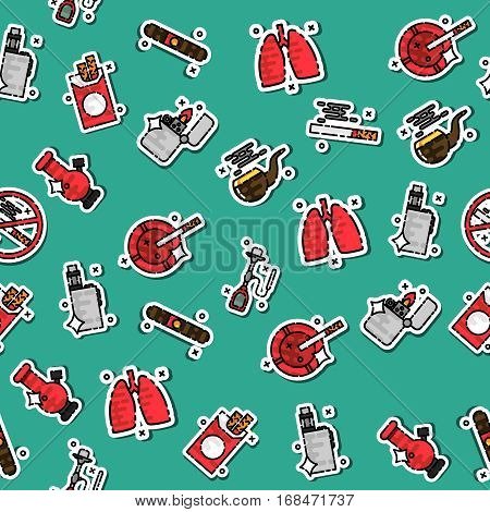 Colored smoking pattern. Tobacco and smoking sketch set. Vector poster of cigarettes, cigars, hookahs, tobacco leaves, ceremonial pipe, lighter and ashtray.