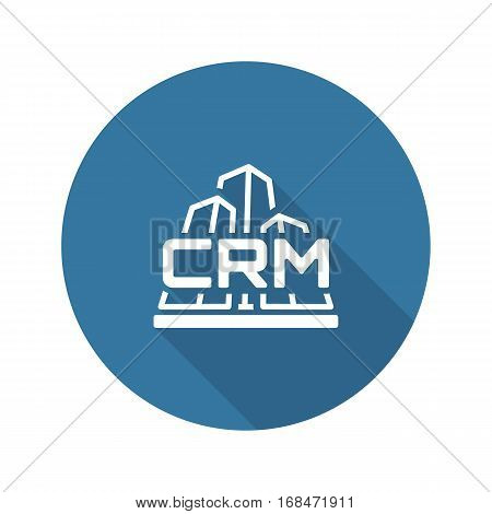 Corporate CRM System Icon. Business and Finance. Isolated Illustration.