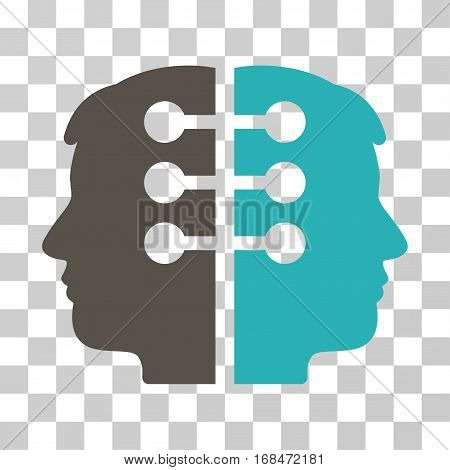 Dual Head Interface icon. Vector illustration style is flat iconic bicolor symbol, grey and cyan colors, transparent background. Designed for web and software interfaces.